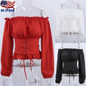 womens clothing Fashion Women Ladies Long Sleeve Off Shoulder Tops Blouse Shirt Lace up Corset