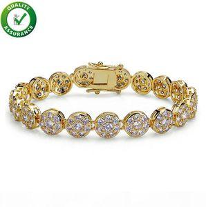 Hip Hop Designer Jewelry Mens Gold Bracelets Luxury Bangles Iced Out Diamond Tennis Bracelet Designer Style for Love Rock Link Chain