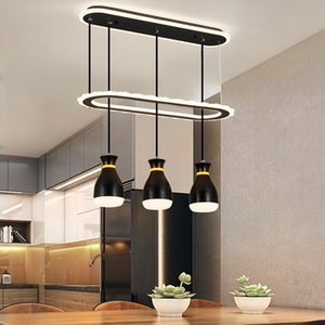 Nordic restaurant dining room three-color light chandelier acrylic black and white simple creative dimmable art led pendant lamp RW467