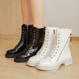 Cootelili зимние женские лодыжки ботильоны теплые с плюшевым круглым носям 4см пятки шнурка и молния новая модная обувь для женщины размером 35-40