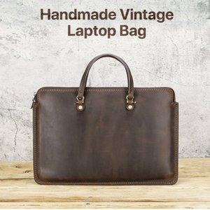 Vintage Laptop Handbag Genuine Leather Tablet Portfolio Sleeve Pouch Case For Apple Macbook Pro 13''   Huawei MateBook 13''