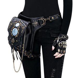Gothic Steampunk Women Waist Bags Retro Rock Punk Bags Goth Shoulder Men Leg Thigh Holster Leather Crossbody