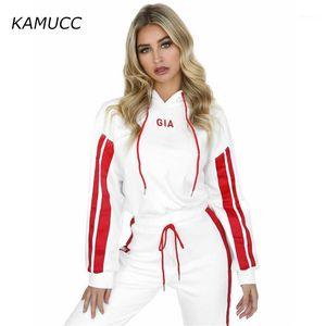 Kamucc 2020 otoño invierno vellón gia letra Harajuku impresión jersey grueso suelto mujer sudaderas con capucha sudaderas femenino coat 1