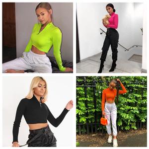 Simple stand collar half sweater zipper new autumn 2020 high waisted short style show thin navel plug leisure sweater women DHL