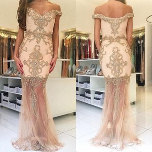 Delicate Off The Shoulder Beaded Appliqued Evening Formal Dresses Crystal Zipper Back Floor Length Illusion Mermaid Prom Dress