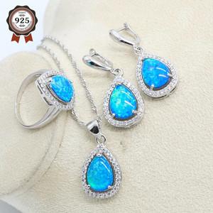 Blaue natürliche Opal Silber Farbe Schmuckset Für Frauen Ohrringe Halskette Anhänger Ring Geburtstagsgeschenk 201125
