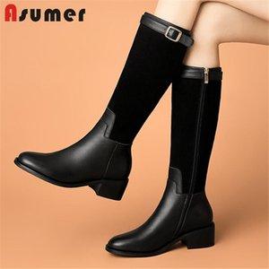 Asumer récent Femmes Bottes d'équitation en cuir véritable + carré Daim Talon Chaussures Casual Boucle Zip Cuissardes Femme