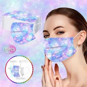 Maschere Disponibile a tre strati per adulti monouso di protezione antipolvere Maschere traspirante e getta stampati alla moda Maschere Gradient Starry Sky