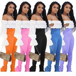 Stacked Solid Color Womens 2pcs Spring Summer Long Length Skinny High Waist Strapless Women Clothing 2 Pieces