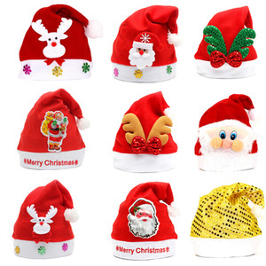 Factory wholesale Christmas gift children Christmas hat adult dress up cartoon glowing Santa hat kindergarten gifts.