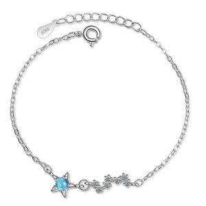 Star Blue Crystal Bracelet Fashion Jewelry For Women Rhinestone Cubic Zirconia Silver Plated Korea Trendy Gifts HotSale 135