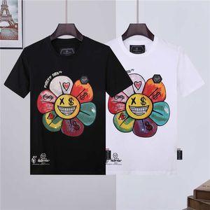 2020 new printed Phillip plain diamond filippolan graffiti color sunflower crayon print slim fit T-shirt
