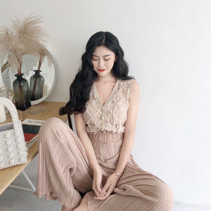 New Summer Women Lace Sleeveless Blouse Tops + Loose Wide-Legged Pants 2 Piece Set Female Slim Two Piece Suit Outfits H122 201007