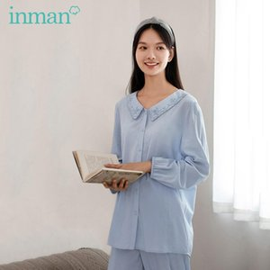 INMAN 2020 Autumn New Arrival Home Wear Sweet Baby Collar Pajamas 2-Pieces Set Outing Leisure Women's Shirt and Pants