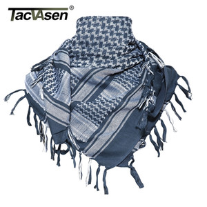 TACVASEN Men Military Shemagh Tactical Arab Keffiyeh Arabic Cotton Paintball Camouflage Head Scarf Airsoft Face Mask 201023