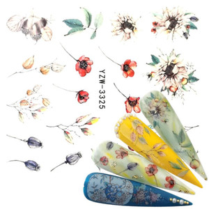 1 PC Flower Bud Glitter Nail Sticker Water Transfer Decal Decoration DIY Adhesive Tips Manicure Nail Art Decals