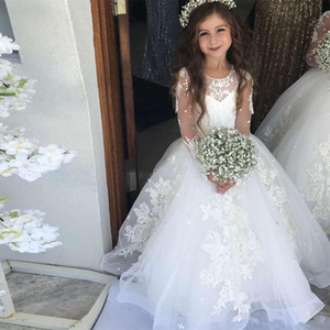 Princess Lace Ball Gown Tulle Long sleeve Beaded Flower Girl Dress Girls Pageant Gowns Applique First Holy Communion Dresses