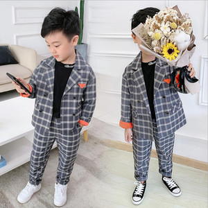 2020 New Autumn Korean Casual Plaid Dress Suit Children's Clothing Boys And Girls Baby Two-piece Suit