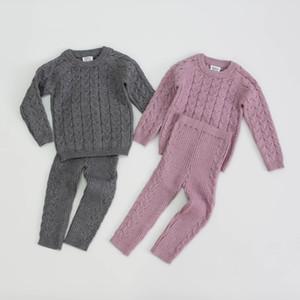 Bebês Crianças Knitting Outfits Bebés Meninas torção tricô manga comprida camisola pullover + tricô justas calças 2pcs sets crianças A4977 pano