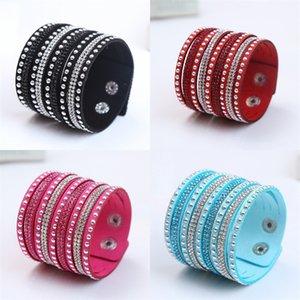 Charme Armband für Frauen Glänzende Frauen Multilayer Leder Strass Kristall Armband Tasten Weiß / Schwarz / Blau Armband Leder 101 O2