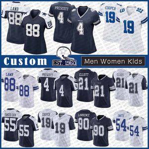 4 داك بريسكوت دالاسرعاة البقر مخصص الرجال النساء الاطفال كرة القدم جيرسي 88 CeeDee حمل 21 حزقيال 19 إليوت العماري كوبر 54 يايلون سميث