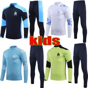 20 21 Olympique de Marseille Футбол Детский тренировочный костюм 2020 2021 Payet L.Gustavo Детский футбол Jogging Куртка Survestement de Футбольный набор