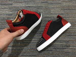 2020 TOP Red Bottom Low Cut Spikes Flats Shoes Best Qualtiy For Men Women Leather Sneakers Casual Shoes gz With Dust Box
