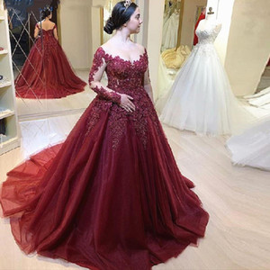 Burgundy Quinceanera Dresses Long Sleeves Beaded Lace Tulle Illusion Sleeves Wine Red Colorful Bridal Gowns Prom Dresses L108