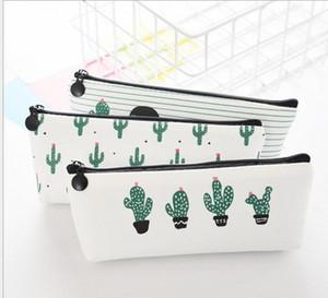 Portable canvas Pen Case Purse cactus creative Money Wallet stripe zipper Pouch Pocket Keyring Gift Kawaii Pencil Bag cute DHL free