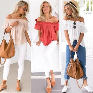Off Shoulder Sexy Ruffle Tshirt Short Sleeve 2020 Summer New Solid Backless Pleated Chiffon Shirts Fashion Women Tops Plus Size