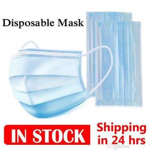 12 horas de navio! DHL frete grátis 7-15 dias descartáveis máscaras face 3-camada anti poeira mas máscara facial mas máscara