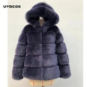 UVRCOS 2020 Зимний Толстый Теплый Искусственный Шубой Женщины Плюс Размер с капюшоном Длинный рукав Искусственный Меховой Куртка Роскошные Зимние Пальто