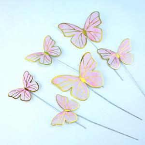 Backkuchen dekorieren lila Beauty Schmetterling geformt Vergoldungstecker in Einheit Abendparty Hochzeitsdekor Neu 0 88BD J2