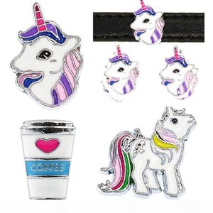 Mix Styles 8mm Unicorn Horse Coffee cup Slide Sharms Wristband Charms Fit 8mm Dog Cat Pet Collar Wristband Bracelet Jewelry Making