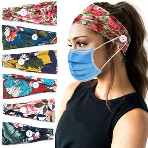 Máscara Botão Headband Titular Casual Boca Máscara Orelha estiramento Hairband Com Botões Flores Impresso Malhas Headbands Sports cabeça banda YFA2643