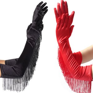 3 Colors Fashion Black White Red Tassels Long Satin Gloves Women Opera Evening Party Costume Gloves Dance Performance Mittens 201104