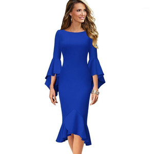 Vfemage Women Elegant Long Flare Bell Sleeve Vintage Pinup Formal Party Cocktail Bodycon Mermaid Midi Mid-Calf Sheath Dress 17001
