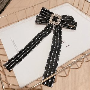 Korean Fashion Fabric Bow Hair Pins Crystal Spring Clip Lady Hair Clip Headdress Luxulry Jewelry Accessories for Women