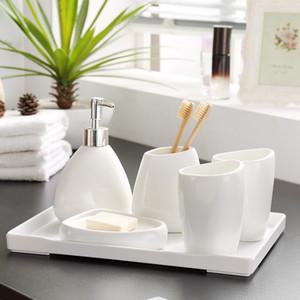 Criativa branco da porcelana cerâmica garrafa Hand Sanitizer Colutório Copa Banho Acessórios Set porta-escovas presente de casamento