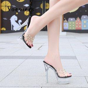 2020 хрустальные тапочки Новые сексуальные моды Женщины для отходов Прозрачный ребет Рыбный рот D'High Water Face14cm Женские сандалии 0lg6
