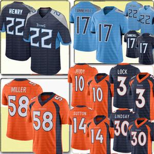 TennesseeTitan 22 Derrick Henry 17 Ryan Tannehill Jersey 58 Von Miller DenverBronco 10 Jerry Jeudy Phillip Lindsay Courtland Sutto