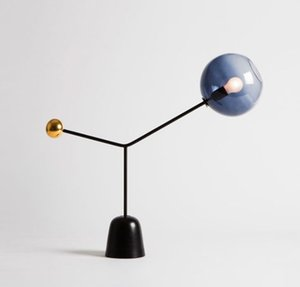 Simple Modern creative Glass LED Table Lamp for Living Room Grass Shade Metal Black Base Table Lights Bedroom Bedside
