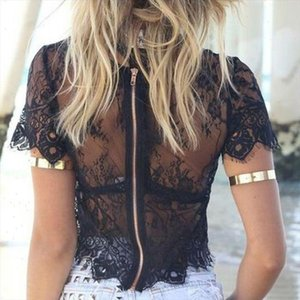 See through Women Mesh Sheer Blouse Top Transparent Lace Hollow Out Short Sleeve Blouses Zipper Back Crop Top Female Cover Up