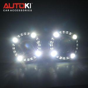 Autoki Car Styling 2.5 '' Bi-Xenon Mini Proyector Lens H1 W / LED Angel Eyes Daytime Running Lights Lens DRL para H4 H7 Auto Lamps