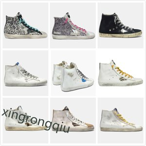 Italia Deluxe Marca Francy Sneakers High Shoe Sneaker Golden Sneaker Classic Leopard Do-Old Sucio Zapato Ganso Designer Mujeres Hombre Cuero Zapatos Casuales