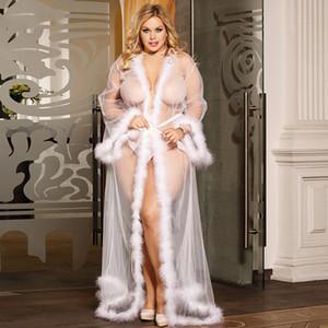 Frauen Wraps Party-Nachtwäsche mit langen Ärmeln Sexy Bademantel Nachthemd nach Maß Sweep Zug Plus Size Brautjungfer Wraps Faux Fur Shawel