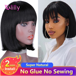Short Bob Straight Full Machine Made Bob With Bang Brazilian Human Hair For Women Remy Hair Cheap Human Wigs