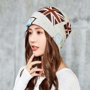 Kadınlar Bayrak Desen Tasarımı Turban Skullies kasketleri Şapka Moda Bayan Eşarp Yüz Maske için OKKDEY Sonbahar Ve Kış Çift kullanımlı Şapkalar