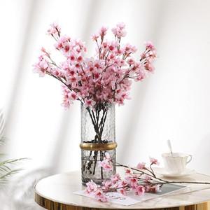 DIY Artificial Simulation Peach Branch Home Decoration Plastic Fake Flower Bouquet Plum Blossom Branch Silk Flower Wedding Decor