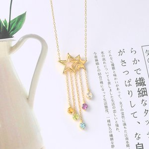 925 Sterling Silver NecklaceStar Tassel Shooting Star Gemstone Pendant 14K Gold Plated Fine Jewelry For Women
